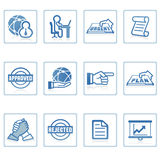 Web icons : global business and office. A set of web icons with light reflections Stock Images