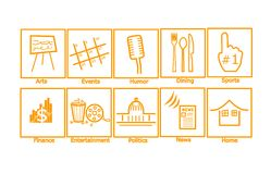 Web Icons Glossy. Set of 10 unique icons in orange piping.  Icons featured are from top left to right, Arts Events Humor Dining Sports Finance Entertainment Royalty Free Stock Images