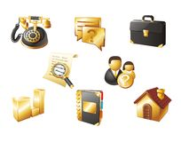 Web icons. Gold and black Royalty Free Stock Photo