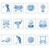 Web icons : Golf II. A set of web icons with light reflections Royalty Free Stock Photo