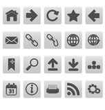 Web icons on gray squares Royalty Free Stock Image