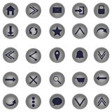 Web icons. Gray web icons on white background in circles Stock Illustration