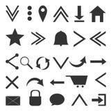 Web icons. Gray web icons on white backgroundn Stock Illustration