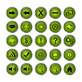 Web Icons, Green, DropShadows Royalty Free Stock Photos
