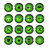 Web Icons, Green, DropShadows Stock Image