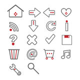 Web icons - grey and red Stock Images