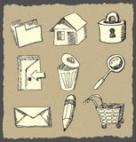 Web icons hand drawn on dark paper Royalty Free Stock Image