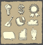 Web icons hand drawn on dark paper Royalty Free Stock Images