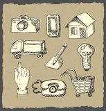 Web icons hand drawn on dark paper Royalty Free Stock Photo