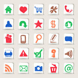 Web icons hand drawn on paper stickers Stock Photography
