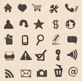 Web icons hand drawn. On recycled paper texture Stock Photography