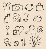 Web icons hand drawn Stock Photos