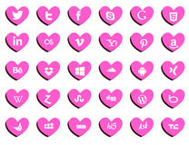 Web icons. In heart shape pink color backgroung Stock Image