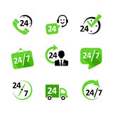 Web icons - 24 hour service, delivery, support, ph. 9 web icon set. Nonstop service, delivery, support, phone Royalty Free Stock Photography