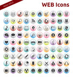 Web Icons. 90 Icons for Web, Internet, Design, Social Networks Stock Photo
