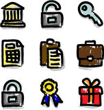 Web icons marker colour contour financial. Look like marker contour hand drawing icons Royalty Free Stock Photography