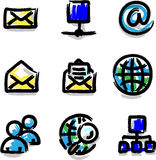Web icons marker colour contour internet. In vector royalty free illustration