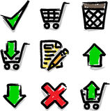 Web icons marker colour contour shop. Look like marker contour hand drawing icons Royalty Free Stock Photo