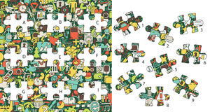 Web Icons: Match pieces, visual game. Solution in hidden layer! Stock Photo
