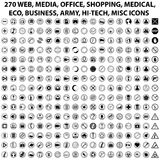 270 WEB ICONS. 270 WEB MEDIA OFFICE SHOPPING MEDICAL ECO BUSINESS ARMY HI-TECH MISC ICONS Stock Photo