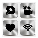 Web icons on metallic buttons set vol 5. This is file of EPS10 format Royalty Free Stock Photo