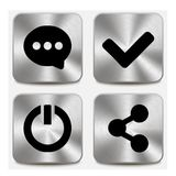 Web icons on metallic buttons set vol 6 Royalty Free Stock Images