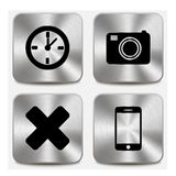 Web icons on metallic buttons set vol 7 Royalty Free Stock Photography