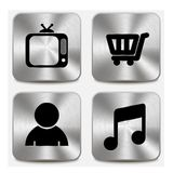 Web icons on metallic buttons set vol 8 Royalty Free Stock Image