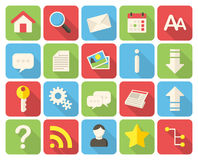 Web icons. Modern flat icons with long shadow stock illustration
