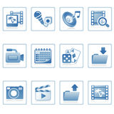 Web icons : multimedia on mobile. A set of web icons with light shadow Stock Images