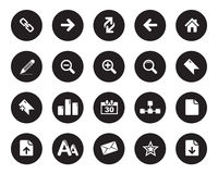 Web Icons, office icons stock  in black circle Royalty Free Stock Images