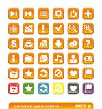 Web icons. orange. set 2. Set of web icons orange colour and exemples of different colours. Vector illustration Royalty Free Stock Photo