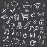 Web icons painted on a black background in the style of chalks. Royalty Free Stock Photo