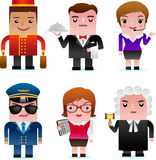 Web Icons - Professional People. Professional people, including Porter, Waiter, Customer Service Representative, Pilot, Accountant and Judge Stock Image