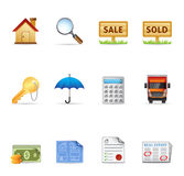 Web Icons - Real Estate. Real estate icon set. EPS 10 with transparencies & transparent shadows placed on layer beneath. Font used: Droid Serif (http://www Royalty Free Stock Images