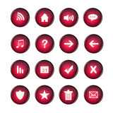 Web Icons, red, DropShadows Stock Photography