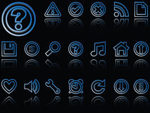 Web icons reflected against black Royalty Free Stock Photography
