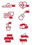 Web icons ribbon style set.  Royalty Free Stock Photos