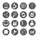 Web icons, round buttons. Set of 16 web icons, round buttons stock illustration