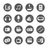 Web icons, round buttons. Set of 16 web icons, round buttons Royalty Free Stock Photo