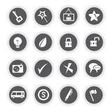 Web icons, round buttons. Set of 16 web icons, round buttons Royalty Free Stock Photos