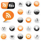 Web icons and RSS symbols Royalty Free Stock Photos