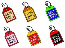 Web Icons Saving Money Tags. 6 different tags featuring sales and savings text from 10% to 60 Royalty Free Stock Image