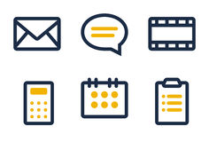 Web icons set. Mail, comment, media, calculator, calendar and tasks. Icons are aligned according to the pixel grid. It means that the images are prepared to use Stock Image