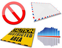Web icons set. Envelope, equalizer, caution Stock Photography