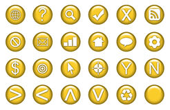 Web Icons Set. In Aqua Gold Symbols royalty free illustration