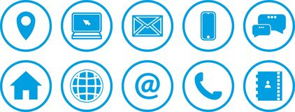 Web icons set. blue icons. stock illustration