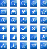 Web icons. Set of blue shiny web and communication related icons Stock Photography