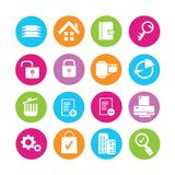 Web icons. Set of 16 web icons in colorful buttons Stock Photo