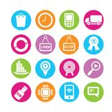 Web icons. Set of 16 web icons in colorful buttons Royalty Free Stock Photo